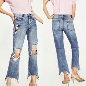 Zara Embroidered Floral Distressed Boot Jeans NWT